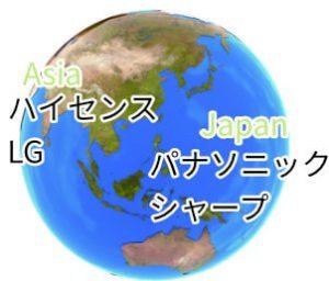 買取されるテレビのメーカー(アジア)(日本)の解説