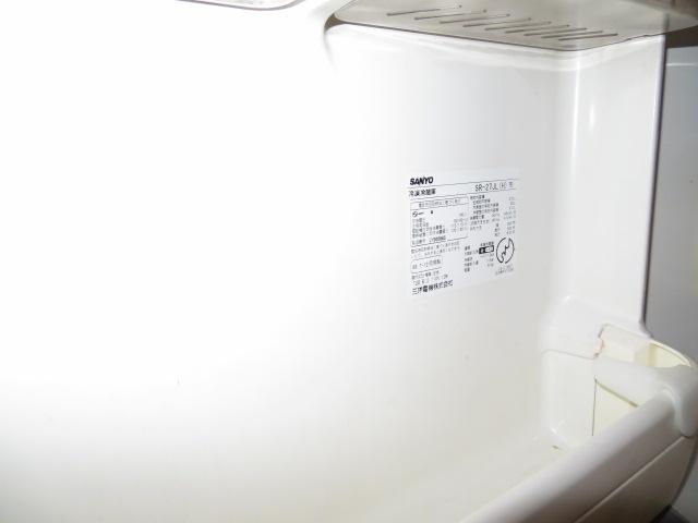 中古冷蔵庫の内扉のラベル